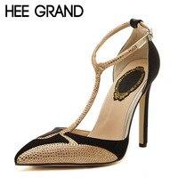 HEE GRAND High Heels T Strap Gladiator Sandals Summer Platform Wedding Shoes Woman Pointed Toe Gold Rhinestone Pumps XWD3327