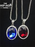 Hip Hop Iced Out Micro Oval Ruby Pendant 2 Necklace Set Silver Tone Bling Bling Rappers