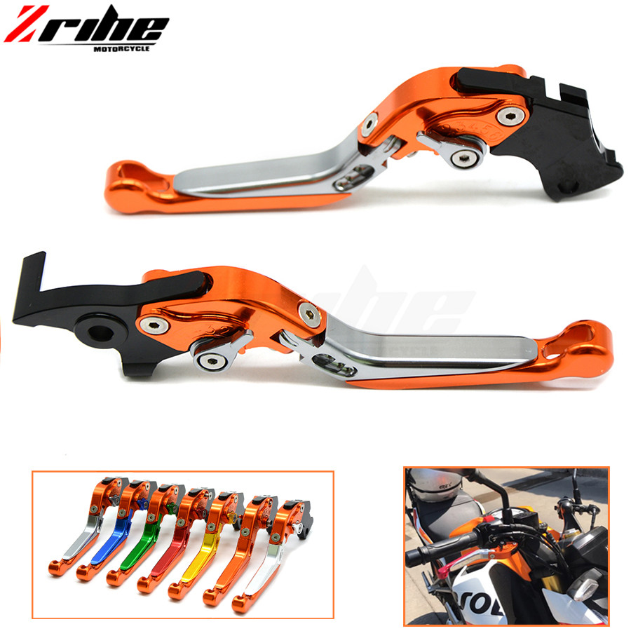 Brake Folding Adjustable Motorcycle accessories Brake Clutch Levers Telescopic folding For ktm 990 SuperDuke 690 Duke RC8 / R 12 billet alu folding adjustable brake clutch levers for motoguzzi griso 850 breva 1100 norge 1200 06 2013 07 08 1200 sport stelvio