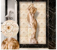 Home Decoration European Style Tile Sandstone Relief Entrance Aisle TV Backdrop Customized Wallpaper For Walls