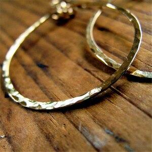 Image 2 - 925 الفضة مطروق هوب أقراط خمر الذهب شغل مجوهرات اليدوية Orecchini Brincos Pendientes Oorbellen أقراط للنساء