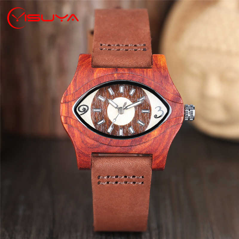 YISUYA Creative Angel Eyes Womens Natural Red Wooden Watches Fashion Quartz Leather Band Elegant Wrist Watch Clock for Men Gift