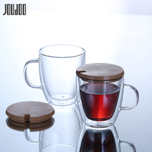 JOUDOO Double Layers Glass Cup Heat Resistant Materal Coffee Tea Cups 350ML 450ML Handmade Exquisite 40