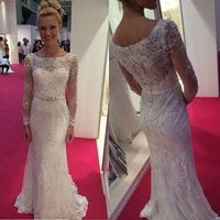 Elegant Lace Long Sleeve Prom Gowns Classic O Neck Mermaid Maxi Party Dresses Free Custom Made Buttons Zipper Back Bridal Gowns