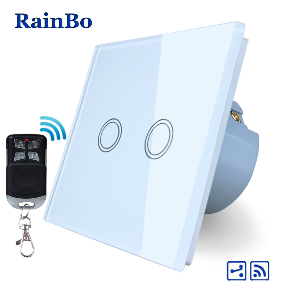 RainBo Brand Remote Touch Switch Screen Crystal Glass Panel wall switch EU 110~250V  all Light Switch 2gang2way A1924XW/BR01 rainbo touch switch screen crystal glass panel wall switch eu standard 110 250v wall light switch 2gang2way led lamp a1922xw b