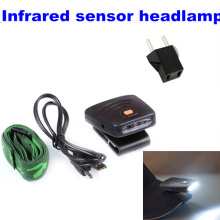 Upgrade Rechargeable headlamp Infrared sensor  Clip-On Clip Hat Cap Lamp Caplight Fishing Light night for camping hiking