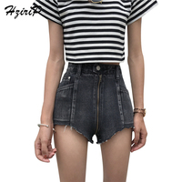 HziriP 2017 Fashion Zipper Short Jeans Women 2017 Sexy Solid New Shorts Female High Waist School