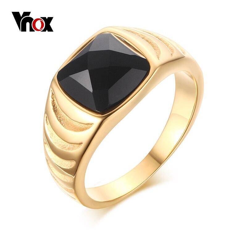 Prix pour Vnox mens vintage anneaux en acier inoxydable or-couleur noir pierre anneaux pour hommes bijoux
