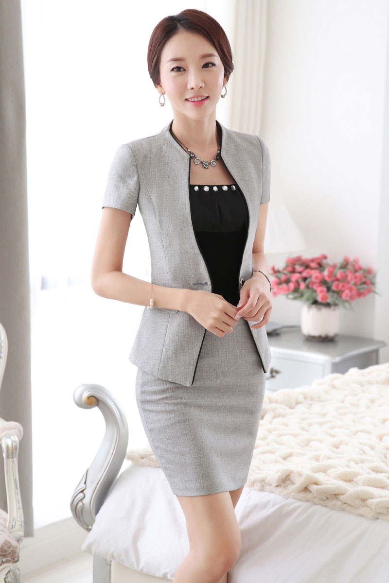 Novelty Grey Slim Fashion Summer Short Sleeve Professional Skirt Suits For Business Women Las Jacketini Outfits In From S