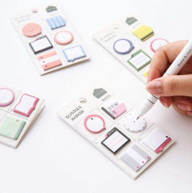 Fresh Style Harmonogram Marker Memo Pad Sticky Notes Zakładki Samoprzylepne Szkoły Biurowymi