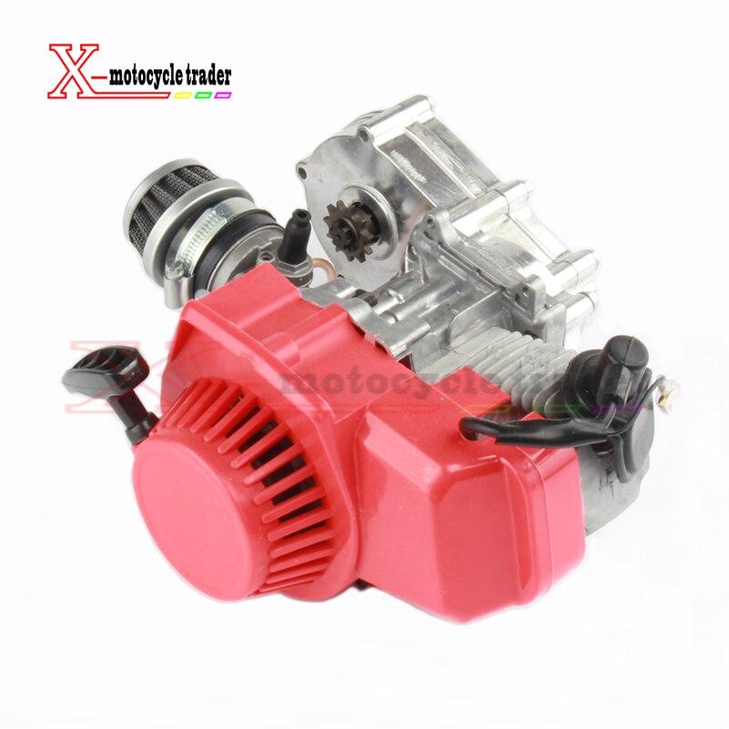 Wysoka wydajność 49CC 2 suwowy silnik silnik z T8F 14 t skrzynia biegów łatwy do uruchomienia motorynka Mini Dirt Bike silnika DIY silnika