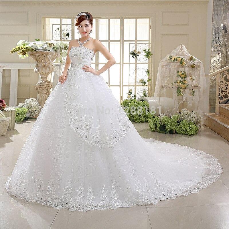 2017 nuevo vestido de boda de lujo del cordón grande de cola de tren