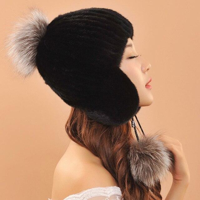 new style women real mink fur hat winter knitted mink fur hat beanies cap with fox fur pom poms female cap