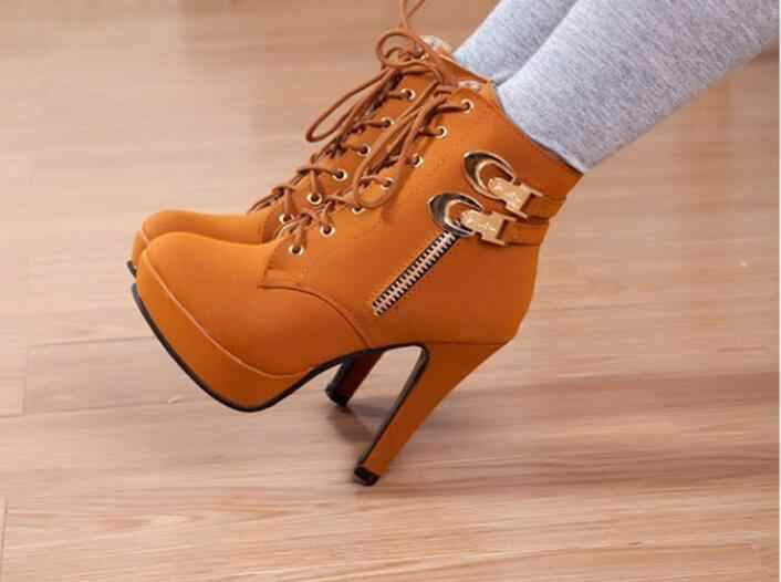 Autumn new Ankle Boots For Women Platform High Heels Female Lace Up Shoes Woman Buckle Short Boot Casual Ladies Footwear