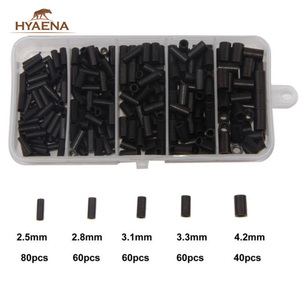Hyaena 300 sztuk 1.4-4.2mm średnica wewnętrzna pojedyncze zagęścić gnieciony rękaw stalowy uchwyt do kabla Tube Set pudełko ze sprzętem wędkarskim