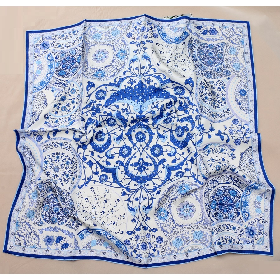 "Thicken 18mm 100% Twill Silk Scarf Shawl Hijab Fashion White Blue Floral Prints Foulard Head Scarves 35"" X 35"""