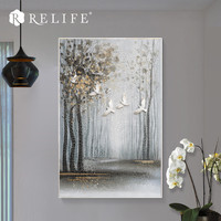 Handpainted Nature Landscape with DIY Birds Wall Art Living Room Decoration Home Decor