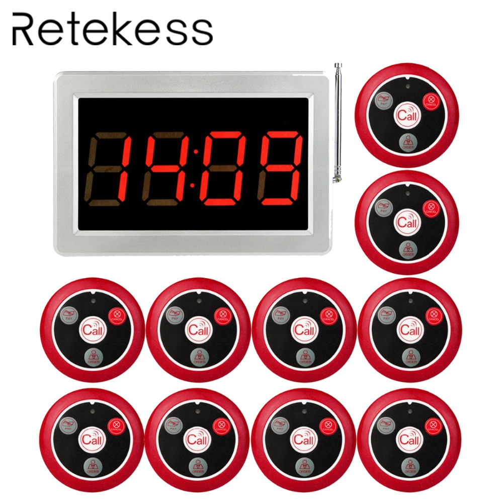 RETEKESS 999 Channel RF Wireless Waiter Calling System For Restaurant Service Pager System 1 Host Receiver + 10 Call Button