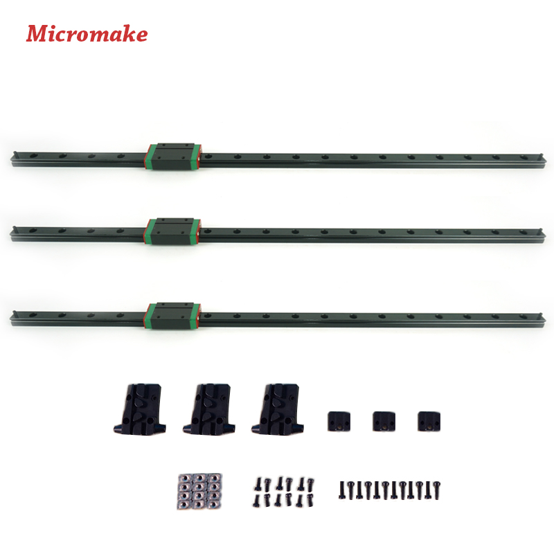 Micromake 3D Printer Kit  Kossel Delta Linear Rail 460mm Length with Slide Block 3pcs/lot