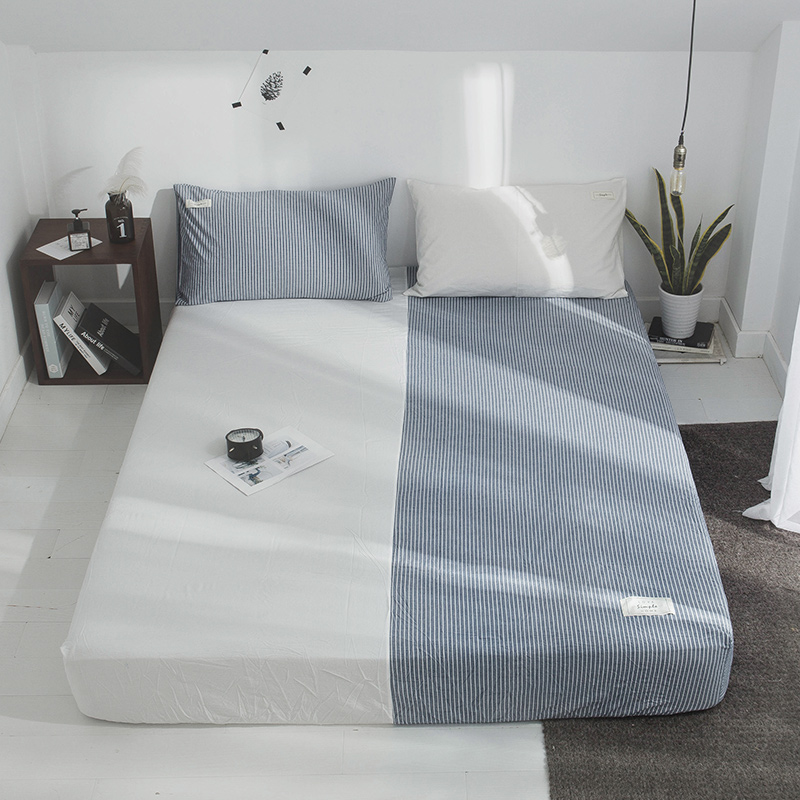 Blue Stripe Pattern Bed Sheet With Pillowcase 3Pcs Bed Linen Queen Size Mattress Covers Fitted Sheet Sets With Elastic For King Blue Stripe Pattern Bed Sheet With Pillowcase 3Pcs Bed Linen Queen Size Mattress Covers Fitted Sheet Sets With Elastic For King