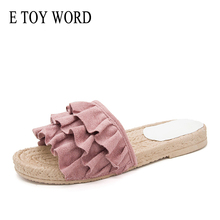 E TOY WORD 2019 Slippers women Summer Lace Sandals Slippers Indoor Outdoor Comfortable Beach Shoes Female Fashion Floral Shoes suihyung women linen slippers fashion deisgn floral bowknot flat slippers comfortable home slippers indoor shoes beach slippers