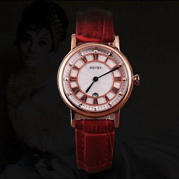 Nouvelle marque de luxe montres pour femmes rouge blanc rose bracelet en cuir de mode montres à Quartz pour dames décontracté montres de mode - 2