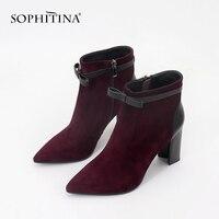 SOPHITINA/женские модные ботинки, новинка 2019 года, с острым носком, из замши, с цветком, кожаная обувь ручной работы, теплые детские замшевые боти