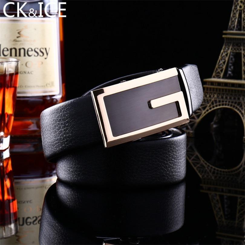 CK&ICE Casual Men Belt Automatic Buckle Belt Buckle Letter G Leather Belt Men Good Quality Cinto Masculino Leather Belt Homme