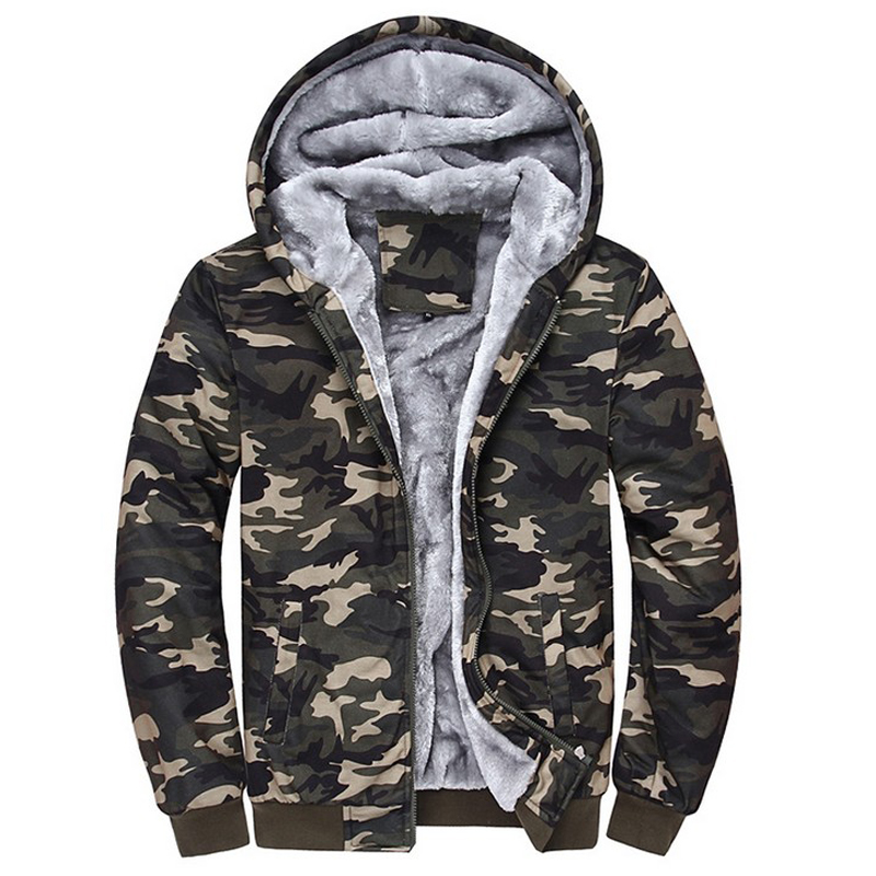 Hombre Sweatshirt Men Camouflage Hoodies Tracksuits Thick Velvet Fleece Camo Coat Mens Hoodies Jacket Brand Clothing