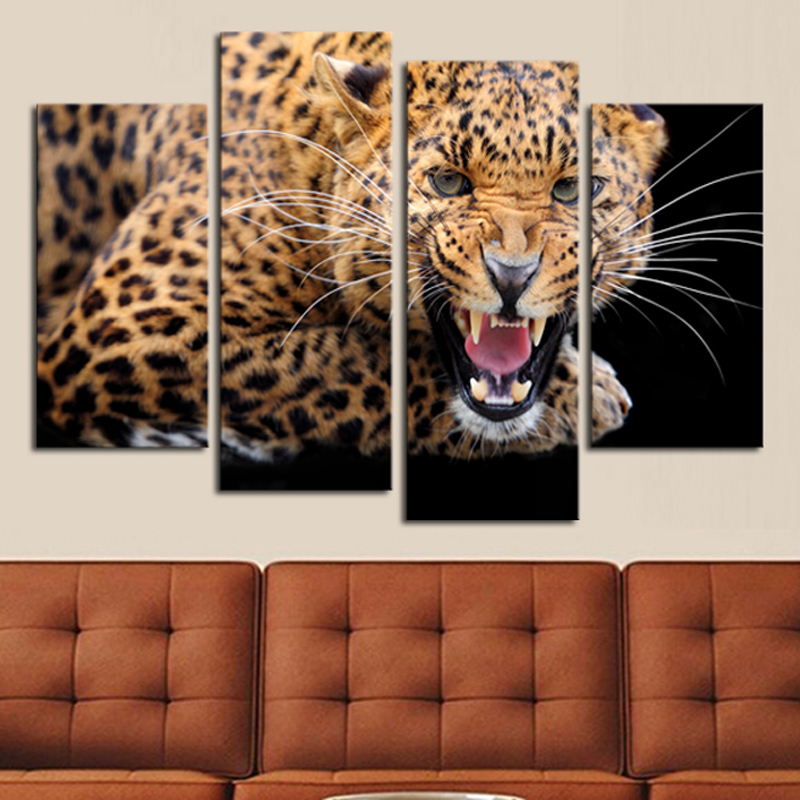 2017 New Fallout 4 Panels Unframed Yellow Spots Leopard Painting Canvas Wall Art Picture Home Decor