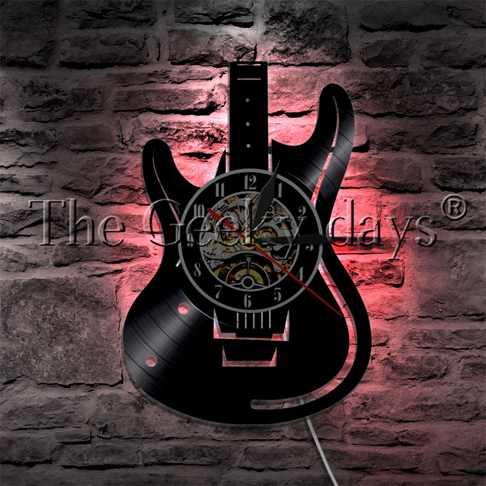 1Piece Guitar Musical Instrument LED Night Lamp Vinyl Record Wall Clock With LED Backlight Rock N Roll Music Wall Watch friday night with fetisov' rock
