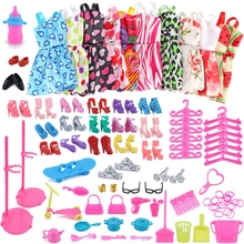 83 Item/Set Doll Accessories=10 Pcs Clothes Dress+18 Pairs Shoes+2 Crown+2 Handbag+12 Hanger for Barbies