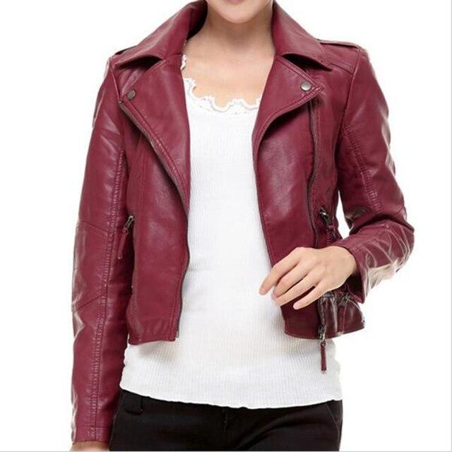 Red Leather Jacket Women 2016 New Fashion Autumn Long Sleeve Slim Sexy Short Coats Black PU Motorcycle Jacket Plus Size 3XL