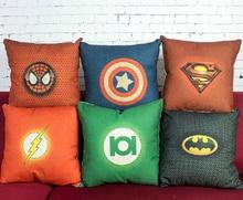 Superhero pillow cover, Avengers spiderman batman superman Captain America Flash throw pillow case Wholesale