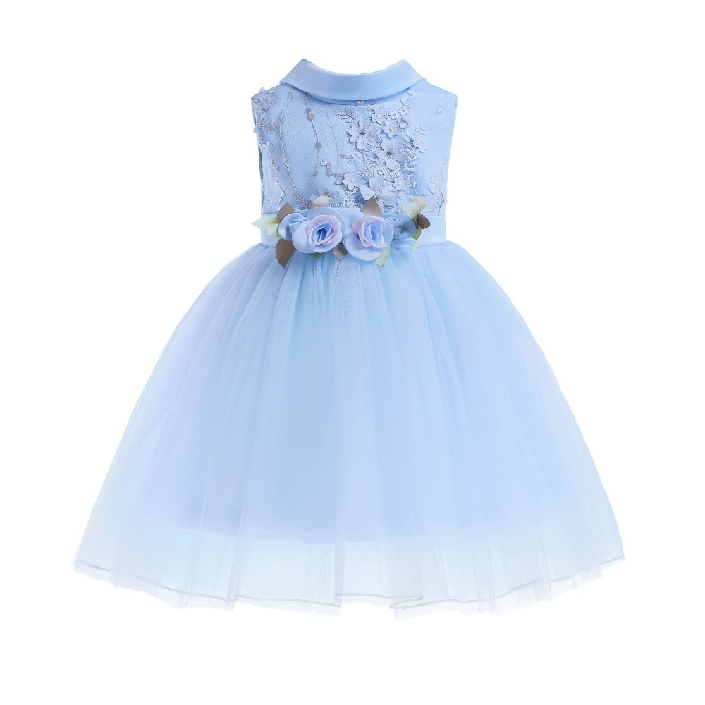 New girls dress children's autumn bow dress small children's lace three-dimensional flower dress holiday party costume