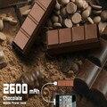 Respaldo de batería externa móvil de chocolate diseñados abs 2600 mah mini cargador portátil con llavero