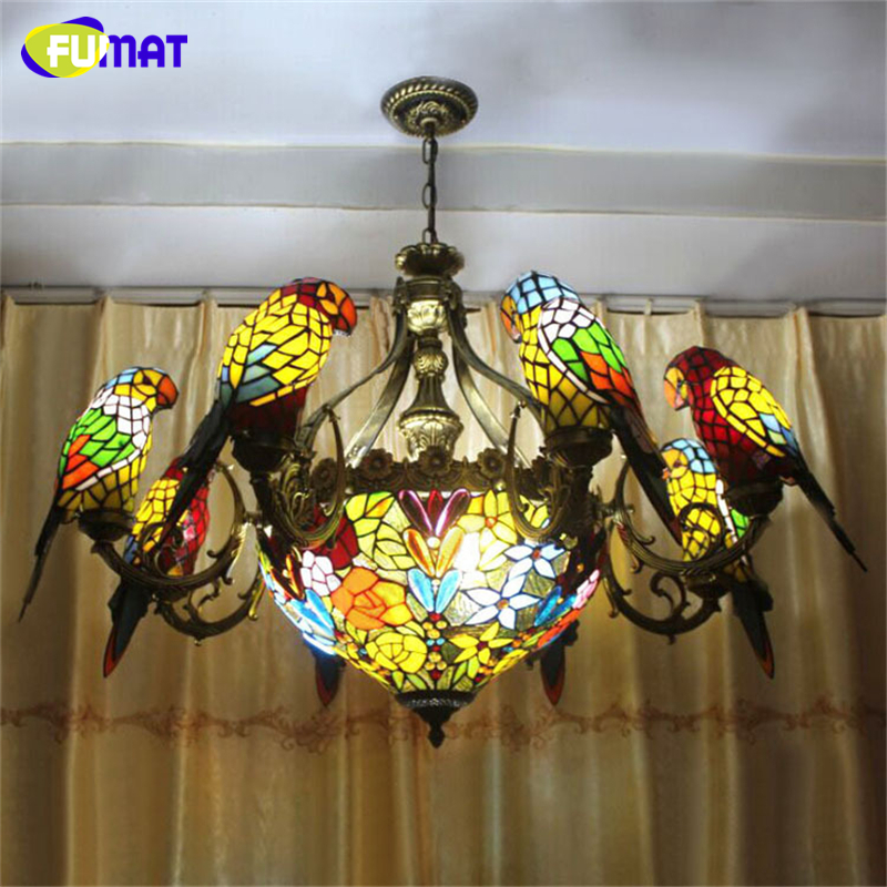 FUMAT Parrots Chandelier European Vintage Glass Light Living Room Dining Room Stained Glass Art Birds Lamp E27 LED Chandelier