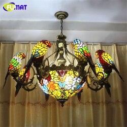 FUMAT papugi żyrandol europejskiej szkło vintage światła salon jadalnia witraż Art ptaki lampa E27 LED żyrandol