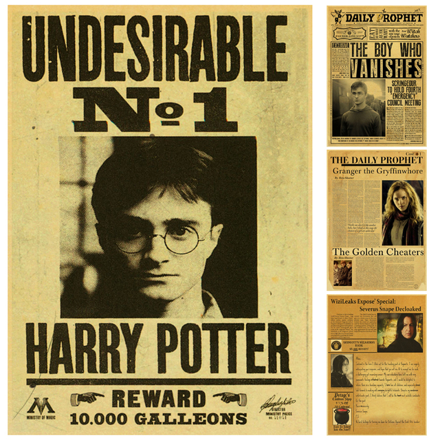 Harry Potter Undesirable No.1 Vintage Retro Kraft Poster ...