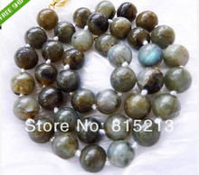 Free shipping ddh001246 Lovely!10mm Indian Labradorite Round Necklace ()(China)