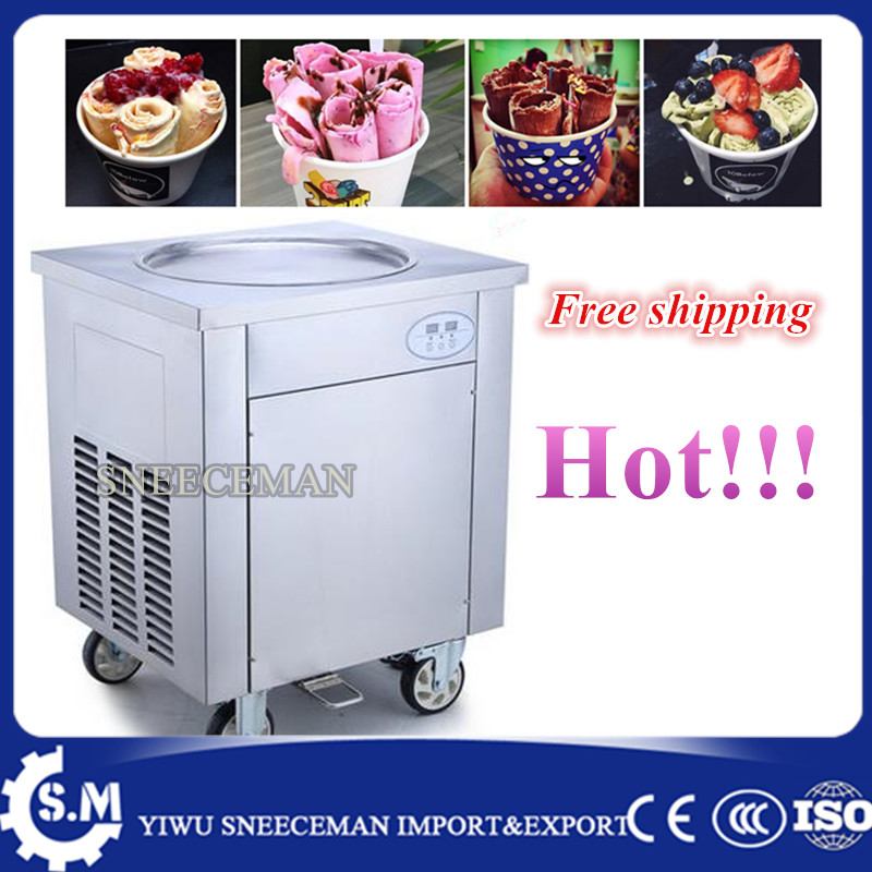 50cm ROUND single pan fried ice cream roll machine ice pan machine maker free shipping automatic fried ice cream machine free shipping big pan 50cm round pan roll machine automatic fried ice cream rolling rolled machine frying soft ice cream make