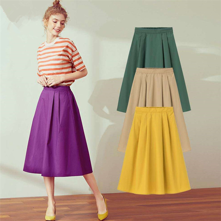 New 2020 Spring And Autunm Plus Size Cotton Linen Skirts High Waisted Elegant Summer Ladies' Office Skirt Purple Red 5xl 6xl 7xl