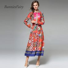 5e6b201c6c8 Bunniesfairy осень европейский и американский Стиль отложным воротником  Подпушка воротник лук-не шить Цветочный принт Платье Ves.