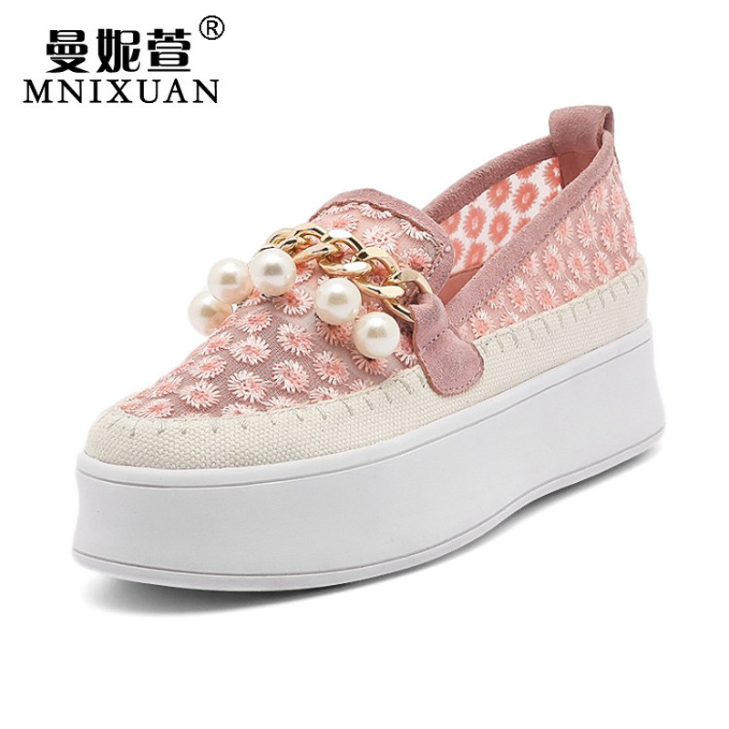 купить  Wholesale women shoes flats 2017 spring new arrival genuine leather flat platform loafers pearls casual round toe ladies shoes  онлайн