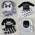2016 Otoño Nuevo bebé de la ropa de moda de algodón de manga larga de la letra t-shirt + pantalones 2 unids recién nacido ropa del bebé fijaron