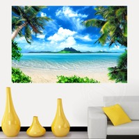 Top Selling Custom 3D Waterfall Scenery Canvas Painting Cloth Print DIY Fabric Poster Wall Silk Poster