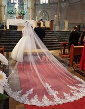 High Quality Long 4 Meters Lace Wedding Veil One Layer 4M Bridal with Comb Accessories 2019 Welon