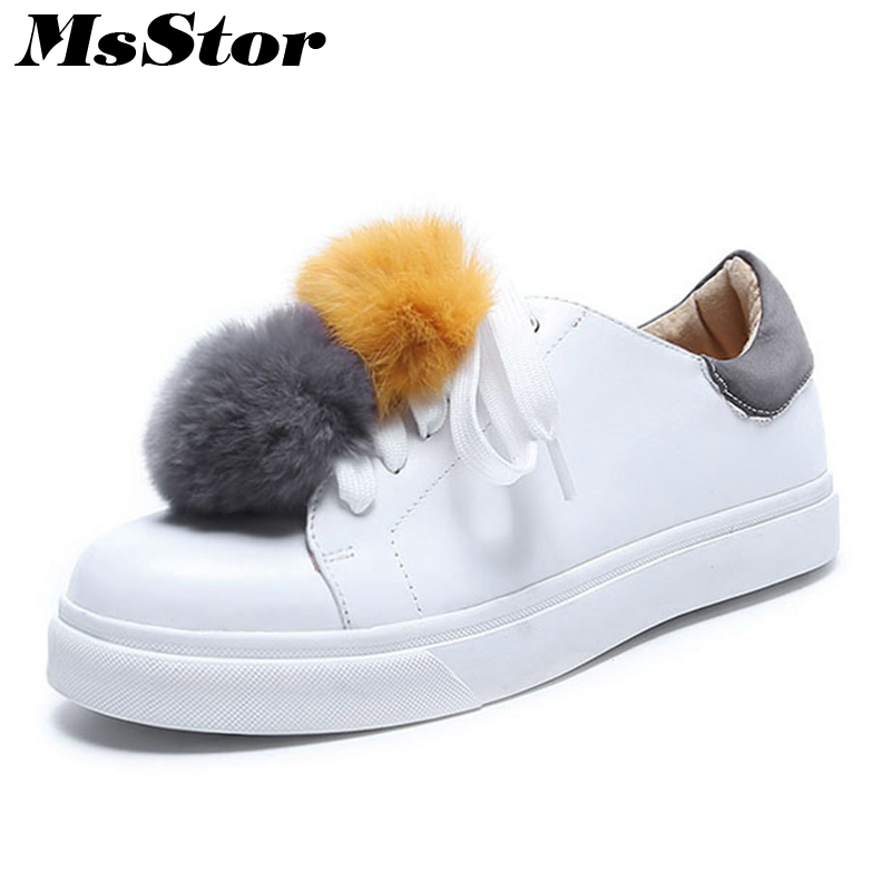 MsStor Round Toe Mixed Colors Women Flats Casual Fashion Ladies Flat White Shoes 2018 Spring Cross tied Fur Women's Flat Shoes 2018 spring autumn woman shoes casual fur loafers women warm ladies flats round toe girls 35 39 fashion shoes women 9033 1