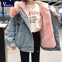 Vangull Fur Trim Hood Cotton Liner Long denim jackets New women winter hardy warm denim coats female plus size loose outerwear