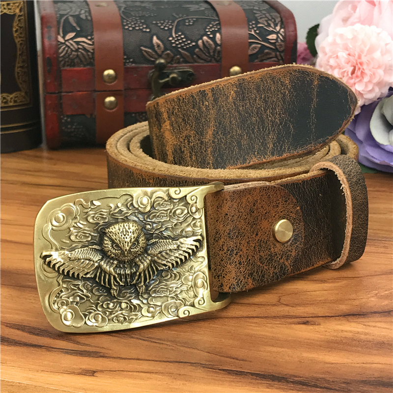 Brass Owl Belt Buckle Yellow Belts For Men Ceinture Homme Men Leather Belt Cowboy Jeans Male Leather Belt Strap Wide MBT0106